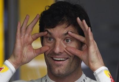 Марк Уэббер с широко открытыми глазами на Гран-при Австралии 2011