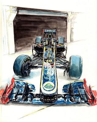рисунок Lotus Renault R31 2011 напротив боксов