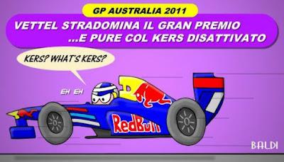 Себастьян Феттель на Red Bull без KERS на Гран-при Австралии 2011 комикс Baldi