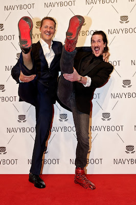 Michael Schumacher and Creative Director Navyboot Adrien J. Margelist arrive at the red carpet for the Navyboot Msone Collection launch at MoCa