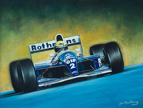 Айртон Сенна Williams FW16 гуашь и пастель рисунок Jan Farthing