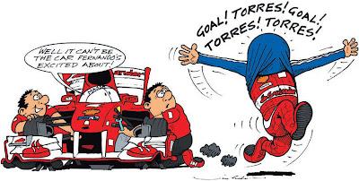 Фернандо Алонсо радуется победе комикс Jim Bamber