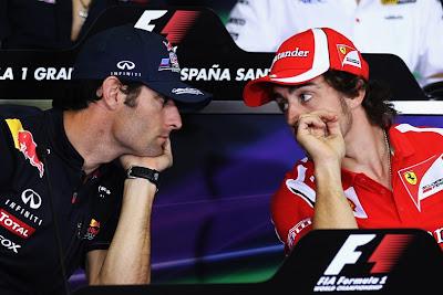Марк Уэббер и Фернандо Алонсо на пресс-конференции в четверг на Гран-при Испании 2011 лицом к лицу