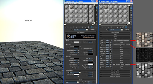 Tutorial 3ds Max Setting Material Paving di Vray
