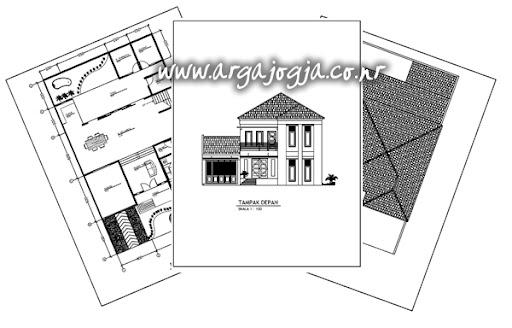 Download Gambar Kerja Rumah Modern Minimalis 2 Lantai Dengan Atap Tarik