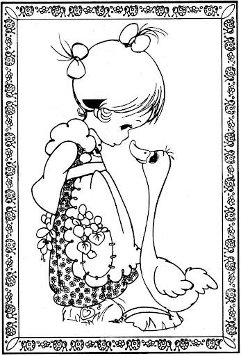 girl and duck – precious moments coloring pages