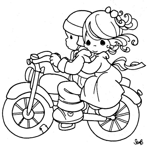 motorcyclist – precious moments coloring pages