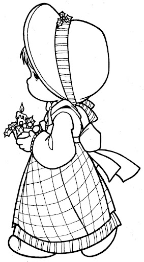 Girl in christmas, coloring page