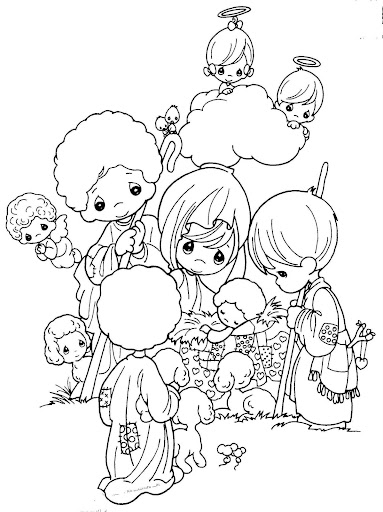 Manger, Jesus birth, coloring pages