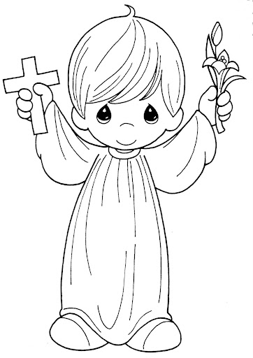 First Holy Communion, coloring pages, precious moments