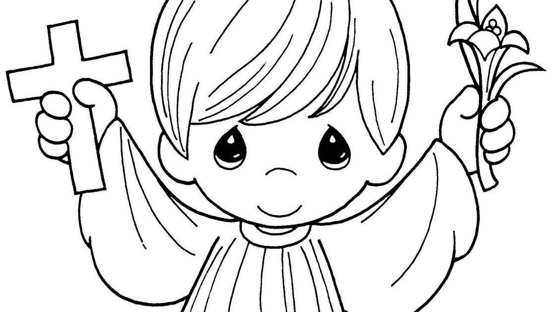 First Holy Communion coloring pages precious moments