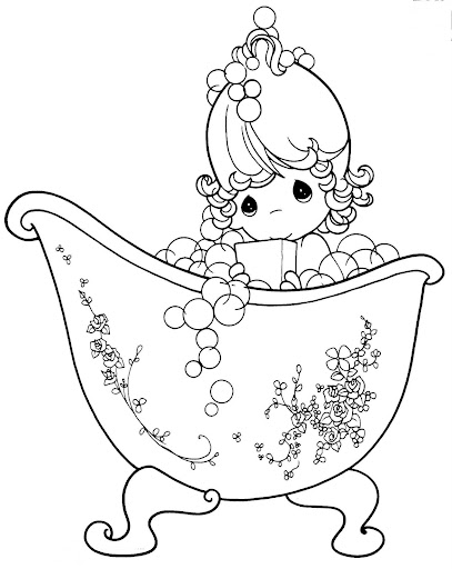 Girl taking a bath , coloring pages