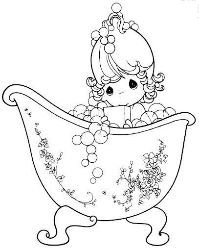 Niña bañandose para colorear