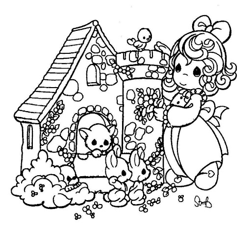 Animal's little house precious moments coloring pages