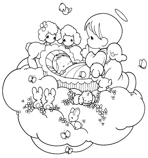 guardian angel taking care a baby coloring pages