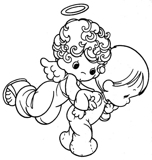 Guadian Angel taking care a child – precious moments free coloring pages