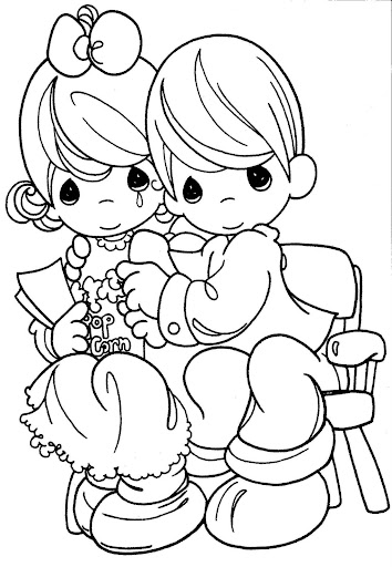Couple in the cinema watching a movie – precious moments coloring page