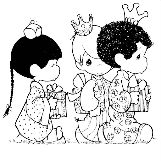 Three Kings Precious Moments coloring pages