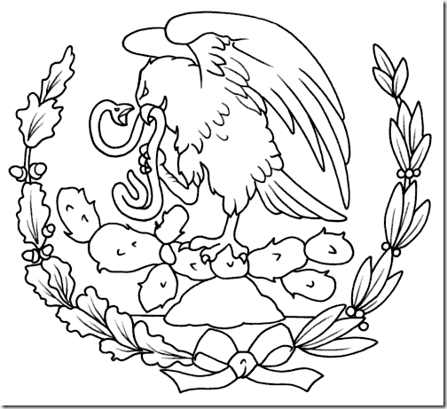 Pinto Dibujos: Escudo de México para colorear