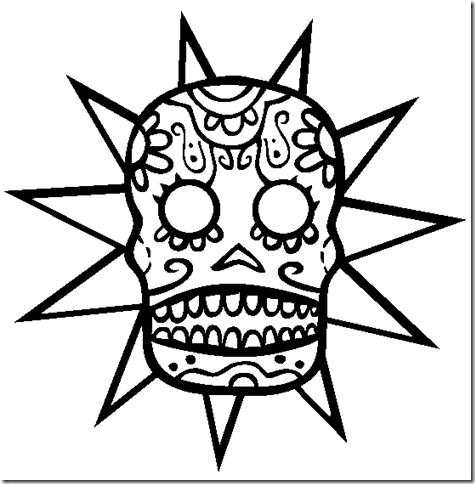 Dibujo para colorear de calaveras de día de muertos