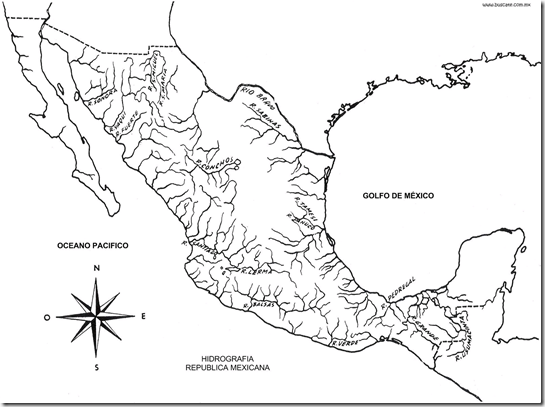 Map of the rivers of Mexico coloring pages