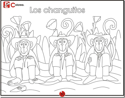The monkeys, free coloring pages