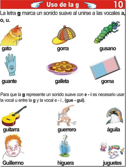 Ejercicios de primaria del uso de la letra G
