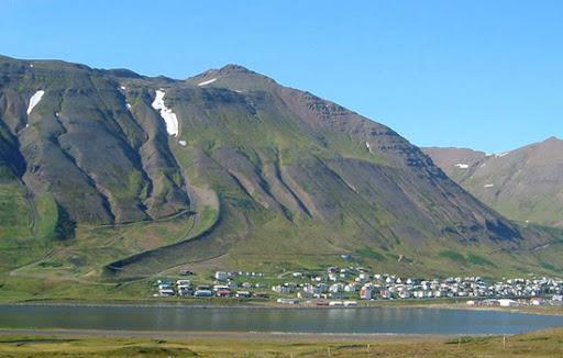 (Avalanche defense structures in Siglufjörður, Iceland.