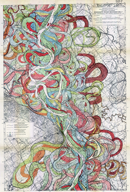 Fisk, 1944. Map of ancient courses of the Mississippi River, Cape Girardeau, MO - Donaldsonville, LA (Plate 22-10)