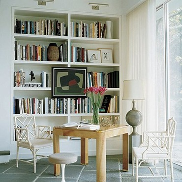 Bookshelves in Dining Rooms Elle Decor, Photography William Waldron, design Bruce Glickman and Wilson Teng