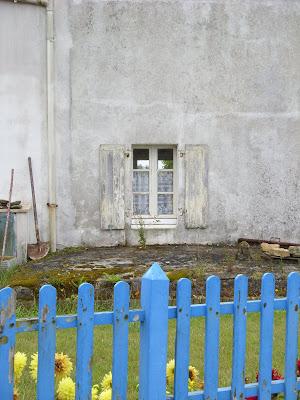 民家の裏庭と窓