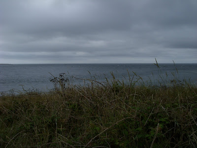 黒い雲が垂れこめる海
