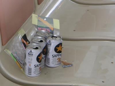ビールで酒盛りの後