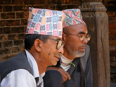 Nepalese men in traditional attire