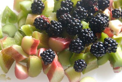 fall bramble berries and fresh rhubarb
