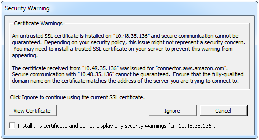 The usual vCenter certificate warning