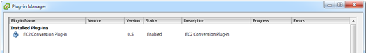 EC2 Conversion Plug-in in the VMware Plug-in Manager