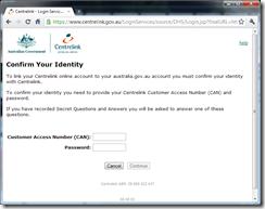 Australia.gov.au - linking a Centrelink account
