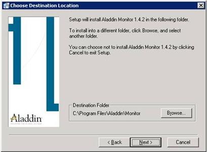 Aladdin HASP Monitor installer: destination installation screen