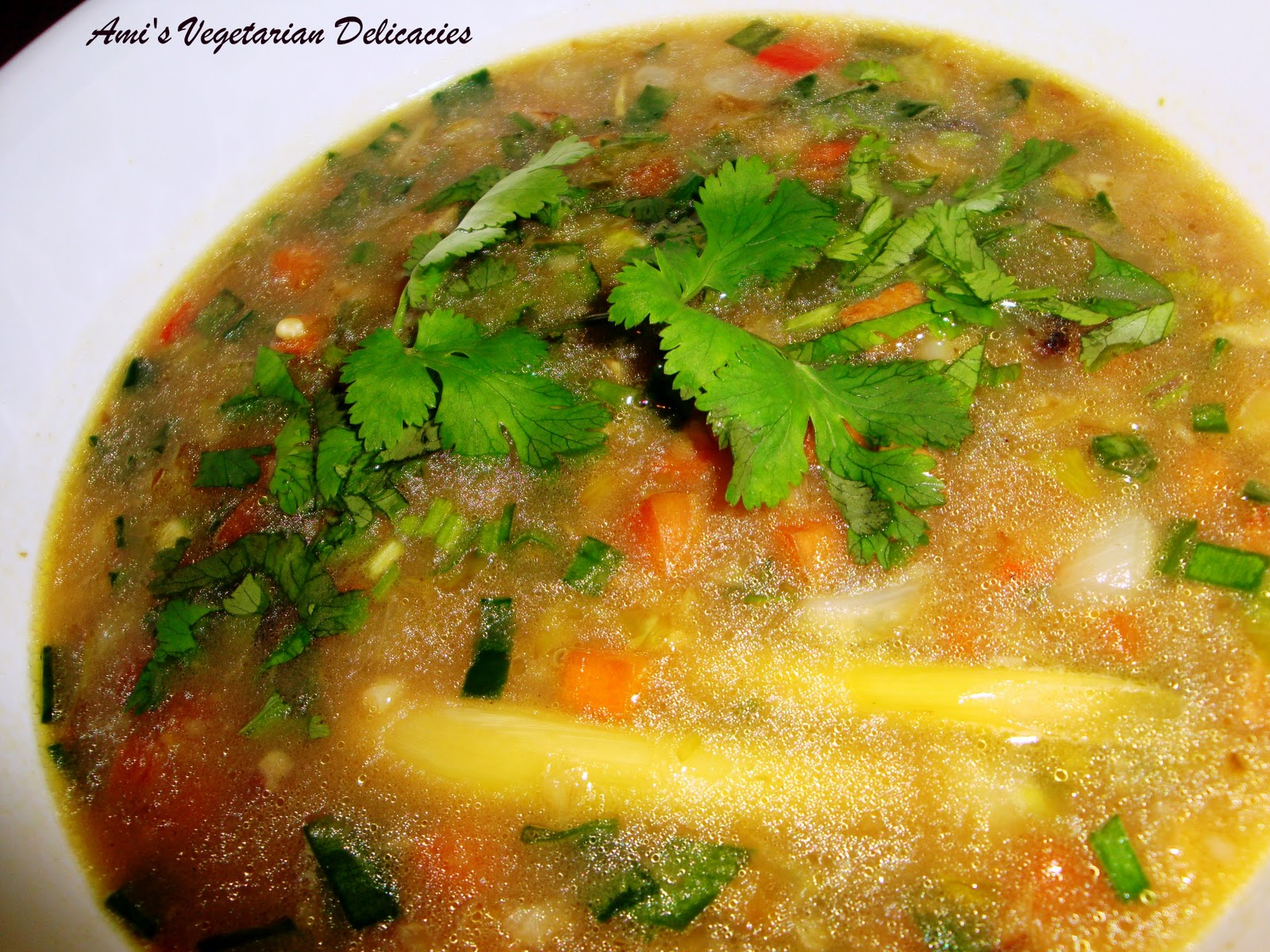 Ami's Vegetarian Delicacies: Lemon Grass and Vegetable Soup