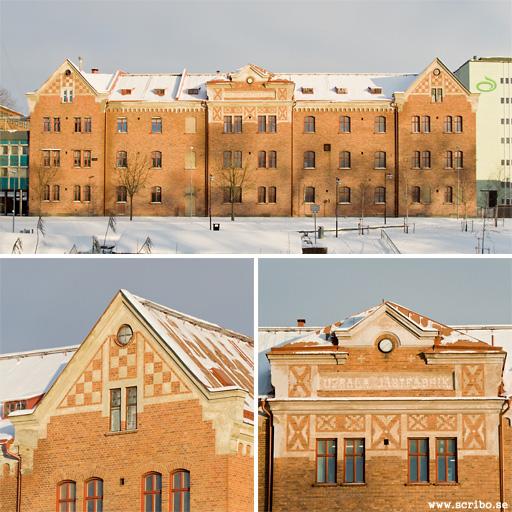 tre bilder på jästfabriken nere vid Tullgarnsparken i morgonsol