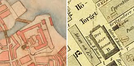 Två kartbilder, Slottet Tre Kornor och Beridarebanan