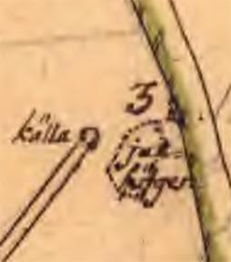 Karta från 1763 med källan och Juthögen