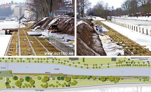 Bryggorna vid Tullgarnparken under uppbyggnad