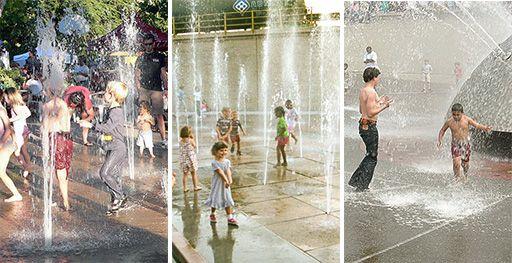 Personer badar i offentliga fontäner