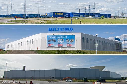 Siluetter av IKEA, Biltema och Media Markt