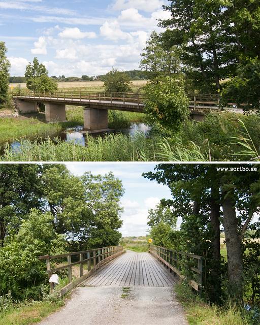 två bilder på Klastorpsbron från väster