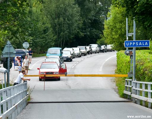Kö av bilar vid Flottsundsbron
