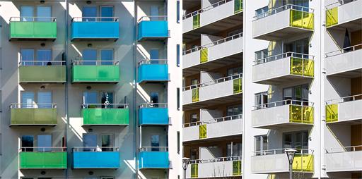 Balkoner på de nya husen vid Fyrisvall