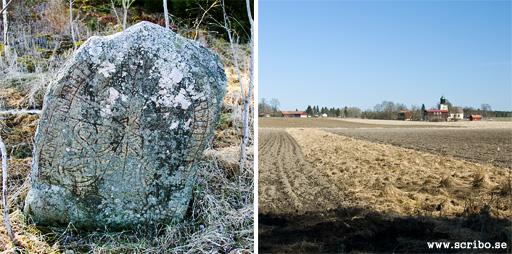 Runsten och stenvadet söder om Läby kyrka